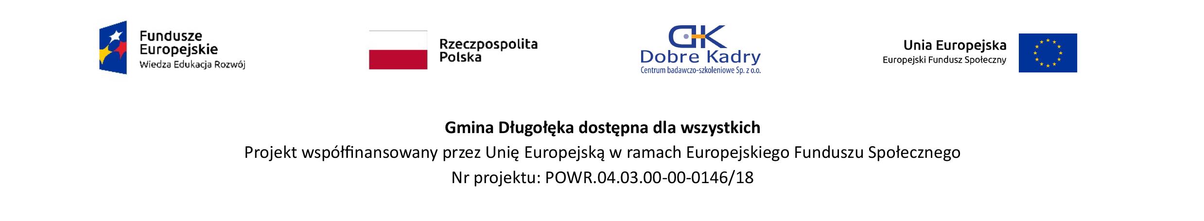 Gmina Długołęka dostępna dla wszystkich projekt Unii Europejskiej, gdzie umieszczone są flaga Polska, Flaga Unijna, Herb Długołęki, Logo Funduszy Europejskich