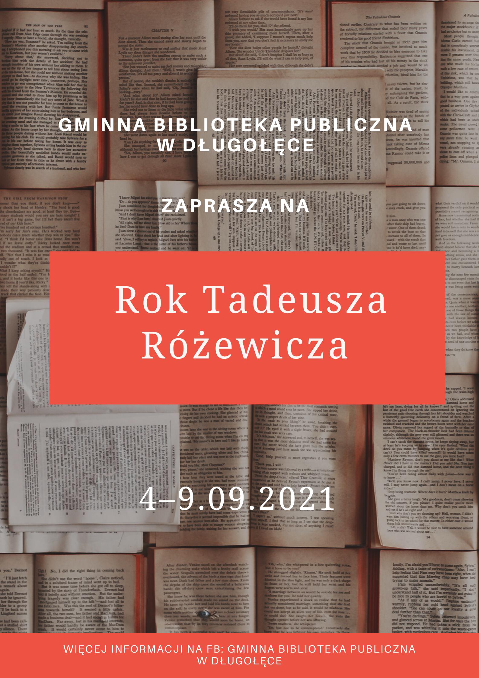 Rok Tadeusza Różewicza – org. Gminna Biblioteka Publiczna w Długołęce