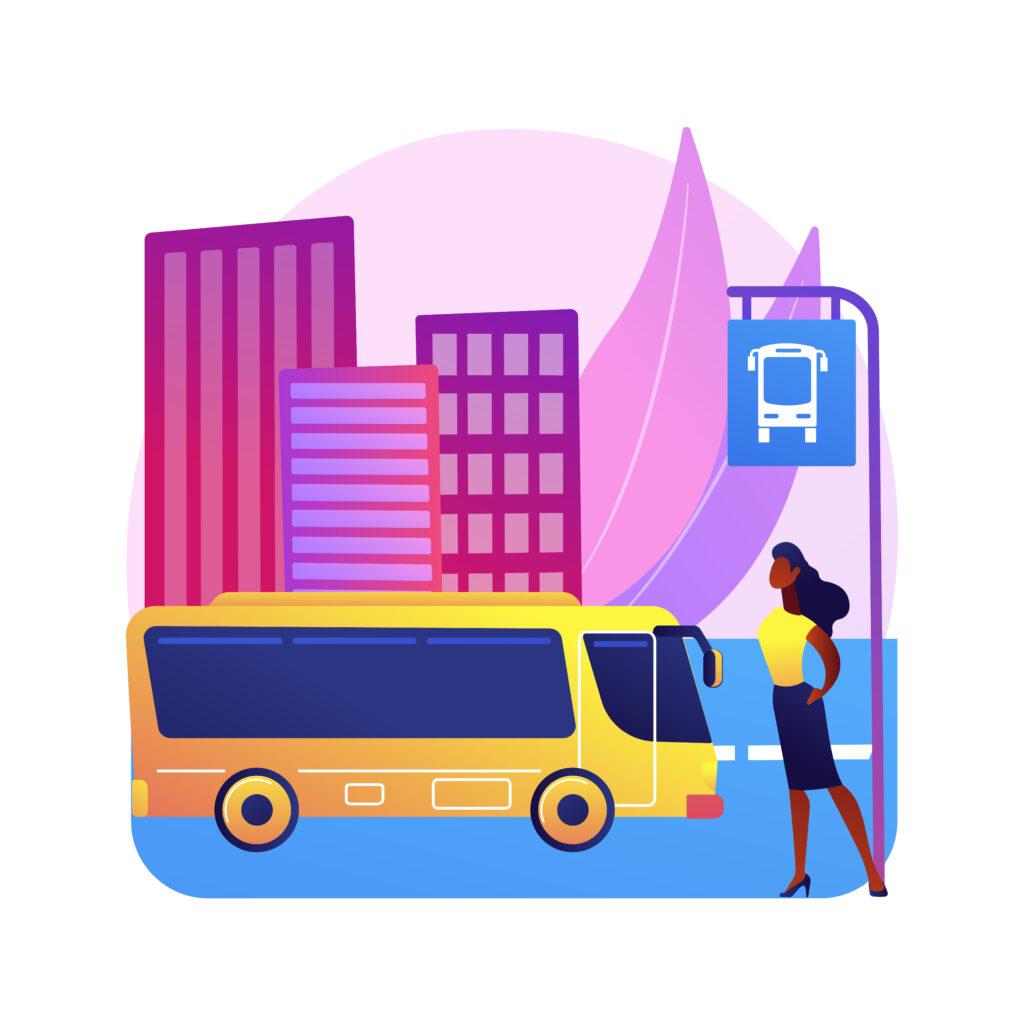 Grafika przedstawiająca przystanek autobusowy