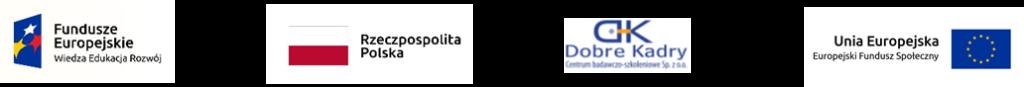 Zestawienie logotypów: Fundusze Europejskie Wiedza, Edukacja, Rozwój; flaga Rzeczpospolitej Polskiej; Dobre Kadry; Unia Europejska Europejski Fundusz Społeczny