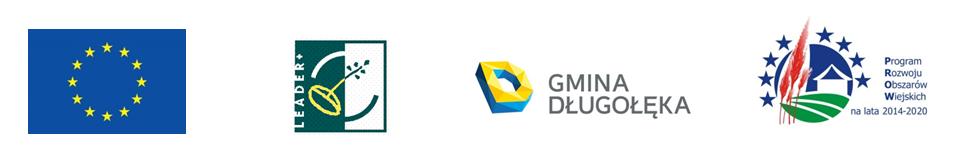 Zestawienie logotypów: od lewej Unia Europejska; Leader, Gmina Długołęka; Program Rozwoju Obszarów Wiejskich na lata 2014-2020