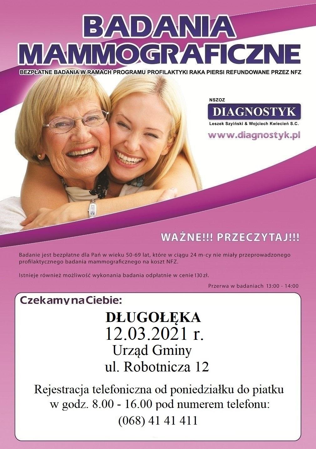 Badania mammograficzne 12 marca