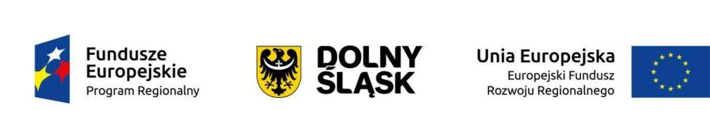 Zestawienie logotypów - od lewej Fundusze Europejskie Program Regionalny; Dolny Śląsk; Unia Europejska