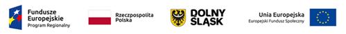 Zestawienie logotypów - od lewej Fundusze Europejskie Program Regionalny, Rzeczpospolita Polska; Dolny Śląsk; Unia Europejska