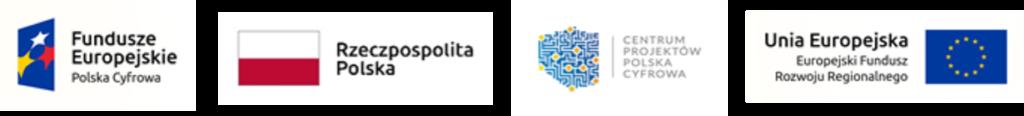 Zestawienie logotypów - od lewej Fundusze Europejskie Polska Cyfrowa, Rzeczpospolita Polska, Centrum Projektów Polska Cyfrowa; Unia Europejska