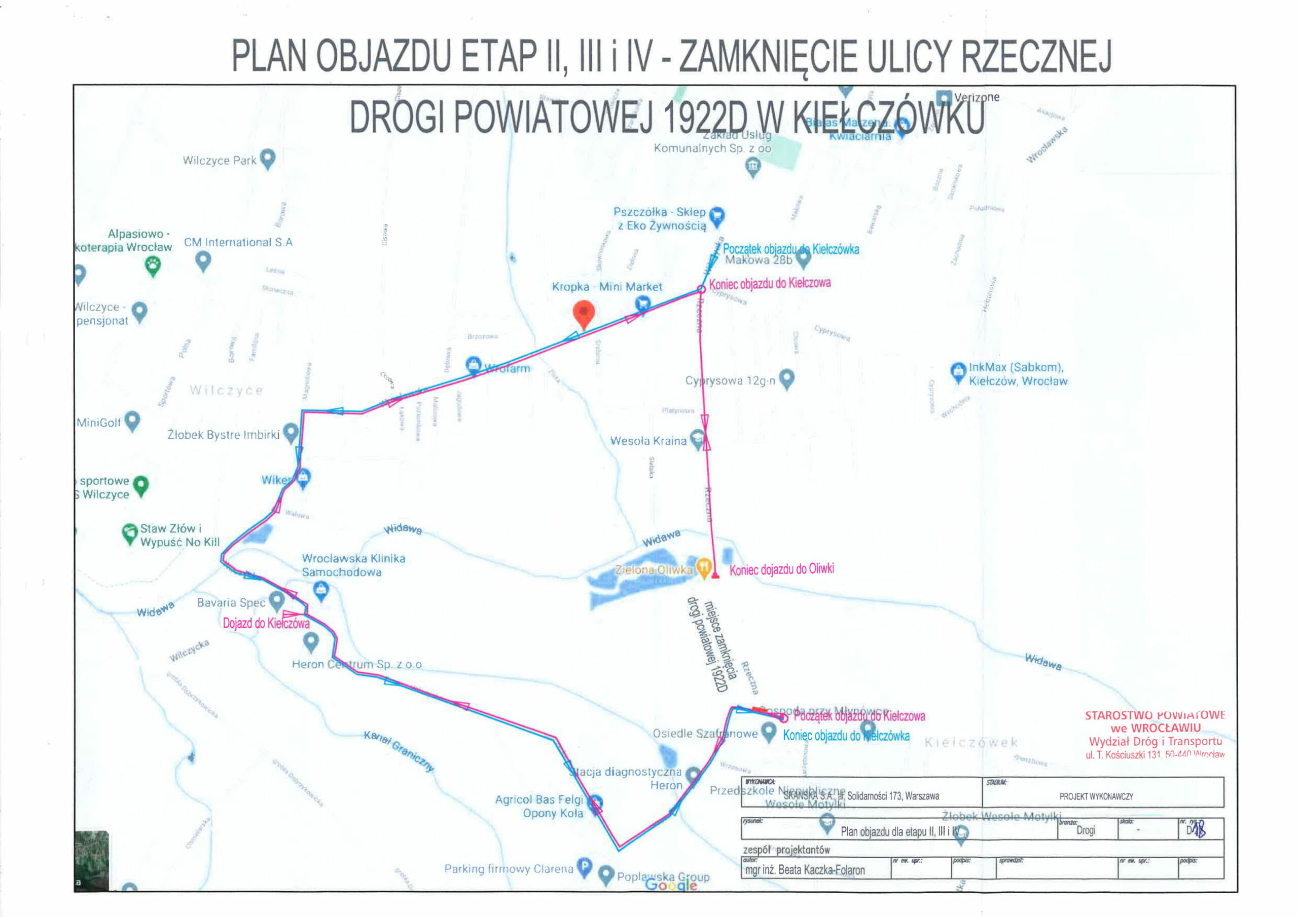 Zamknięcie ulicy Rzecznej w Kiełczówku